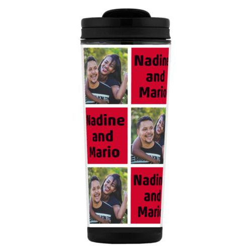 "Custom tall coffee mug personalized with a photo and the saying ""Nadine and Mario"" in black and apple red"
