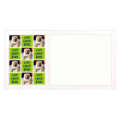 "Personalized white board personalized with a photo and the saying ""Live love bark"" in navy blue and juicy green"