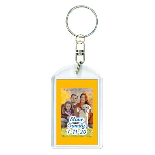 "Personalized keychain personalized with photo and the saying ""Stone Family 7-11-20"""