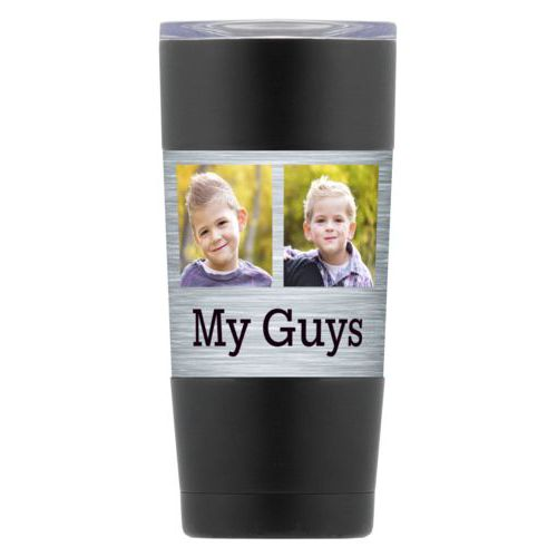 "Personalized insulated steel mug personalized with steel industrial pattern and photo and the saying ""My Guys"""