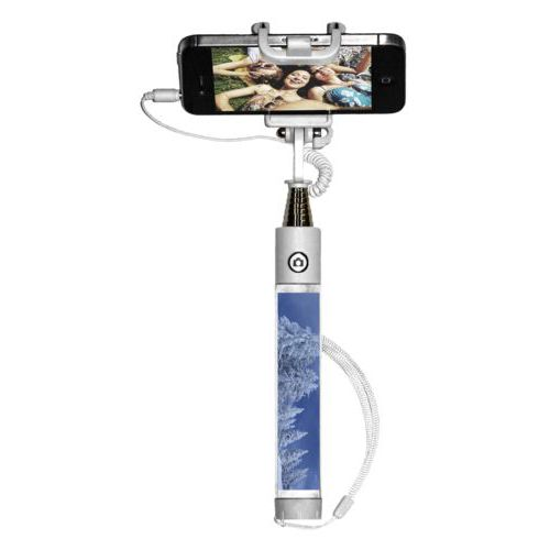 Personalized selfie stick personalized with grey marble pattern and photo