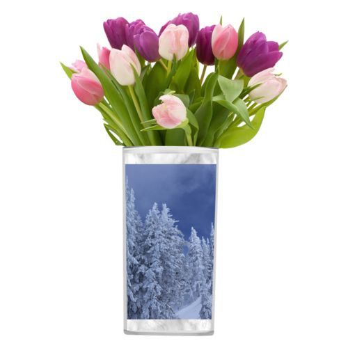 Personalized vase personalized with grey marble pattern and photo