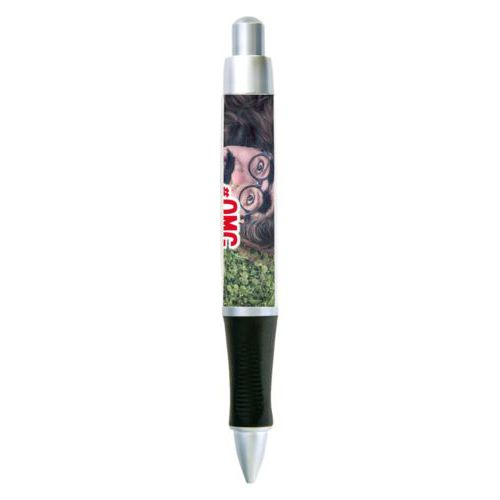 "Personalized pen personalized with photo and the saying ""#omg"""