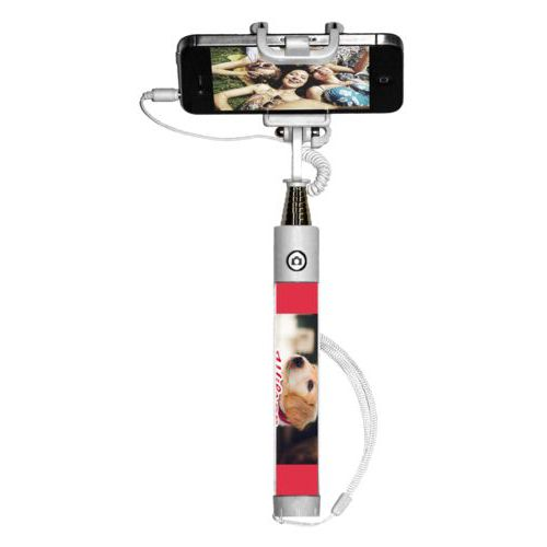 "Personalized selfie stick personalized with photo and the saying ""Wilson"""