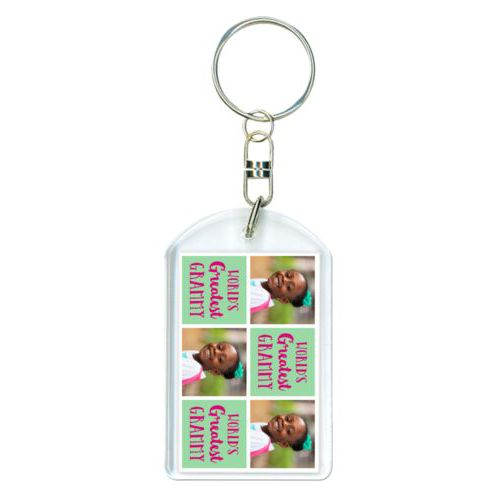 "Personalized keychain personalized with a photo and the saying ""World's Greatest Grammy"" in pomegranate and spearmint"