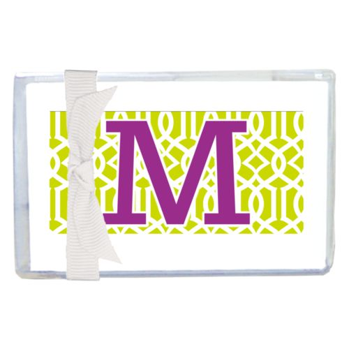 "Personalized enclosure cards personalized with ironwork pattern and the saying ""M"""