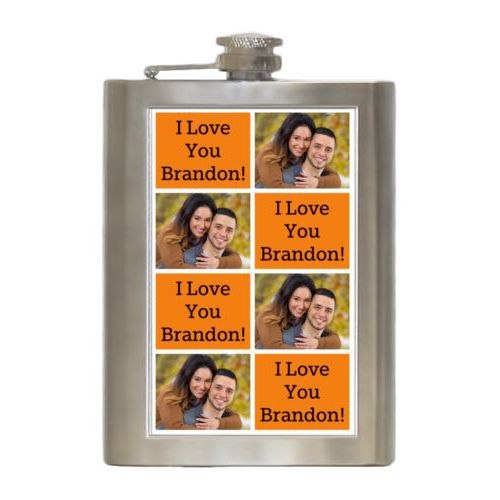 "Personalized 8oz flask personalized with a photo and the saying ""I Love You Brandon!"" in black and juicy orange"