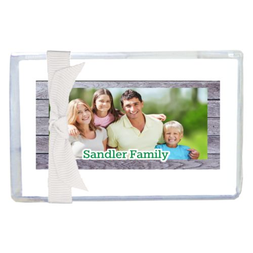 "Personalized enclosure cards personalized with grey wood pattern and photo and the saying ""Sandler Family"""