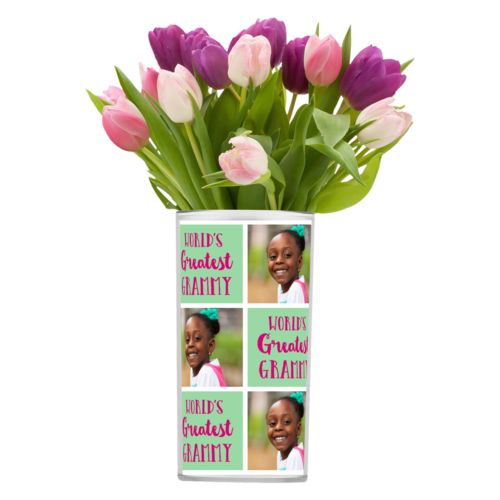 "Personalized vase personalized with a photo and the saying ""World's Greatest Grammy"" in pomegranate and spearmint"
