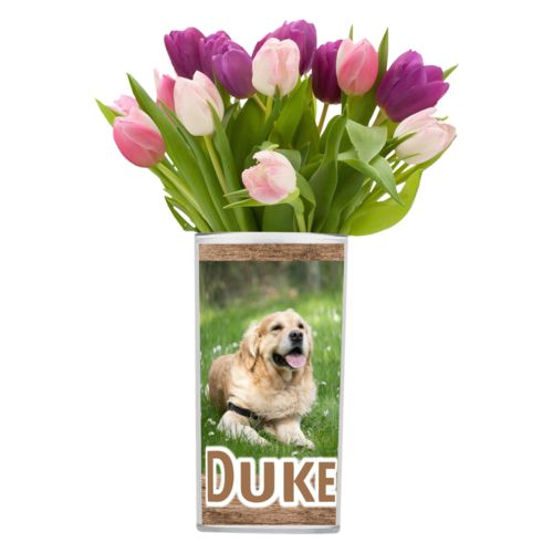 "Personalized vase personalized with brown wood pattern and photo and the saying ""Duke"""