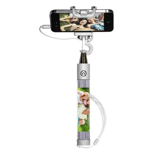 "Personalized selfie stick personalized with grey wood pattern and photo and the saying ""Sandler Family"""