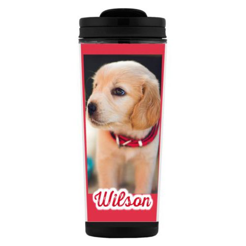 "Custom tall coffee mug personalized with photo and the saying ""Wilson"""
