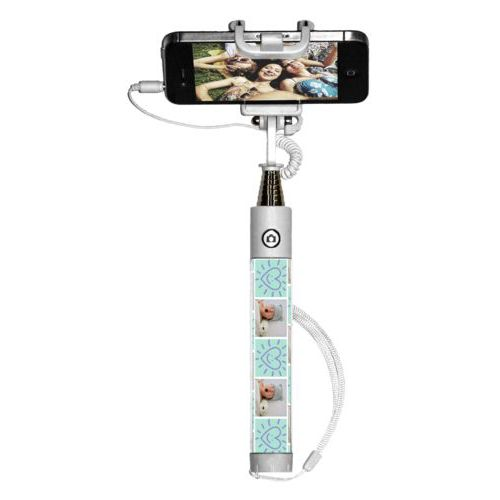 "Personalized selfie stick personalized with a photo and the saying ""Smiling Heart"" in easter purple and mint"