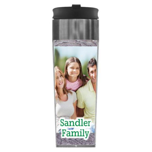 "Personalized steel mug personalized with grey wood pattern and photo and the saying ""Sandler Family"""