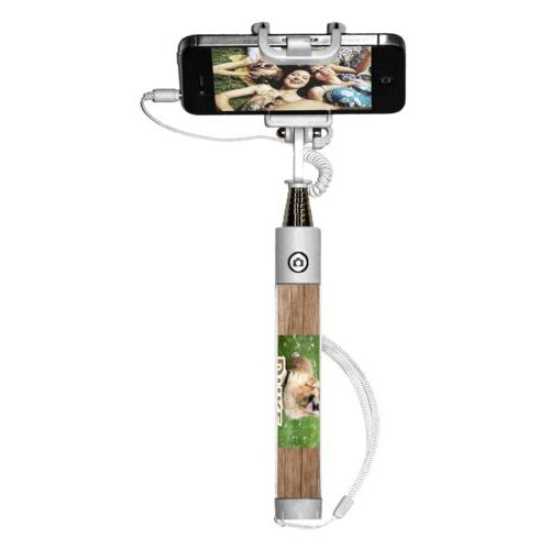 "Personalized selfie stick personalized with brown wood pattern and photo and the saying ""Duke"""