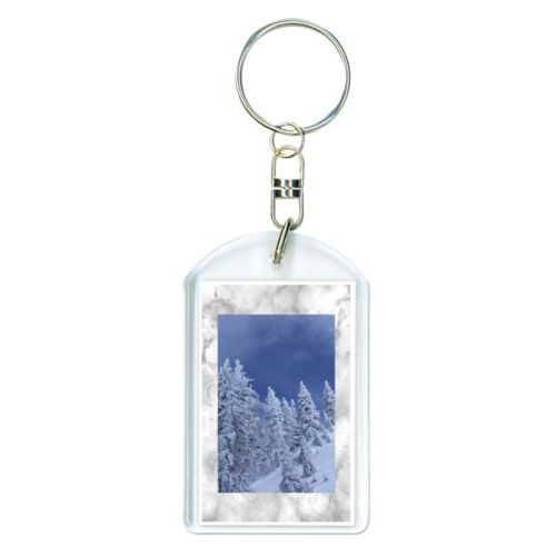 Personalized plastic keychain personalized with grey marble pattern and photo