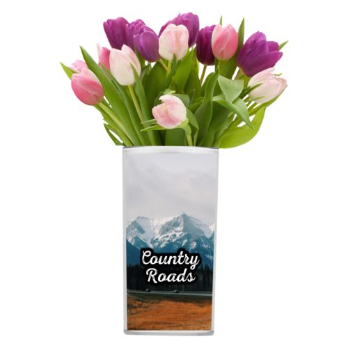 "Personalized vase personalized with photo and the saying ""Country Roads"""