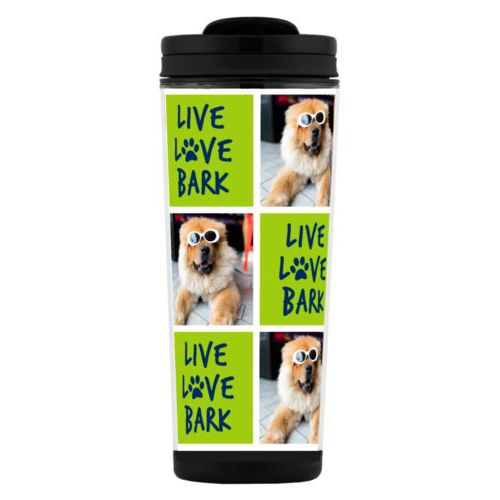 "Custom tall coffee mug personalized with a photo and the saying ""Live love bark"" in navy blue and juicy green"