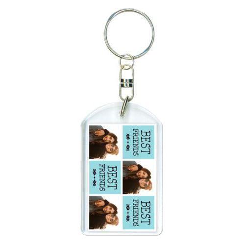"Personalized keychain personalized with a photo and the saying ""Best Friends"" in black and robin's shell"