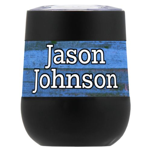 "Personalized insulated wine tumbler personalized with sky rustic pattern and the saying ""Jason Johnson"""