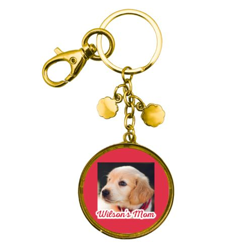 "Personalized keychain personalized with photo and the saying ""Wilson's Mom"""