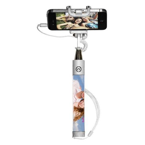 "Personalized selfie stick personalized with photo and the saying ""I love us"""