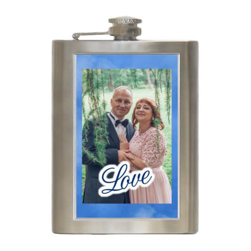 "Personalized 8oz flask personalized with blue cloud pattern and photo and the saying ""love"""