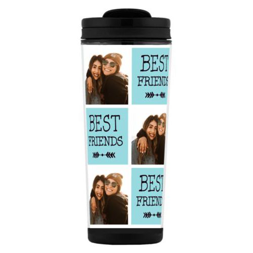"Custom tall coffee mug personalized with a photo and the saying ""Best Friends"" in black and robin's shell"