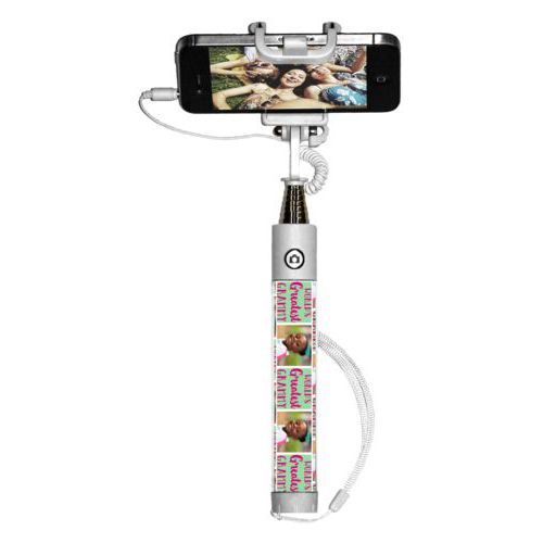"Personalized selfie stick personalized with a photo and the saying ""World's Greatest Grammy"" in pomegranate and spearmint"