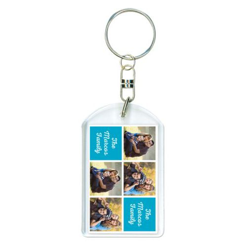 "Personalized plastic keychain personalized with photos and the saying ""The Marcos Family"" in juicy blue and white"