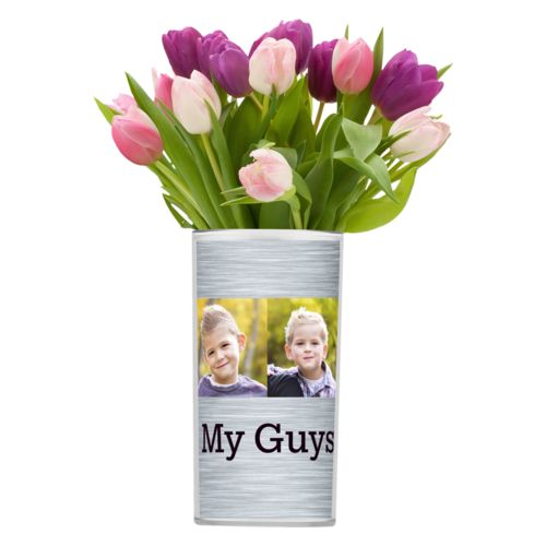 "Personalized vase personalized with steel industrial pattern and photo and the saying ""My Guys"""