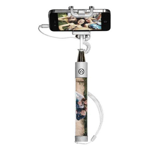"Personalized selfie stick personalized with photo and the saying ""Wilson Family"""