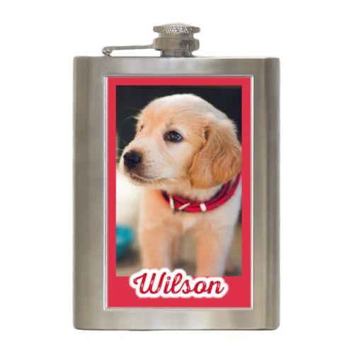 "Personalized 8oz flask personalized with photo and the saying ""Wilson"""