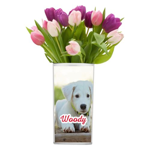"Personalized vase personalized with photo and the saying ""Woody"""