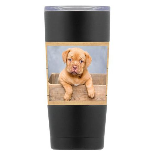 Personalized insulated steel mug personalized with natural wood pattern and photo