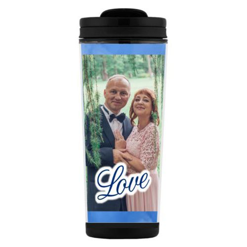 "Custom tall coffee mug personalized with blue cloud pattern and photo and the saying ""love"""