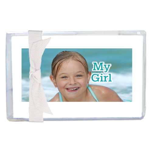 "Personalized enclosure cards personalized with photo and the saying ""My Girl"""