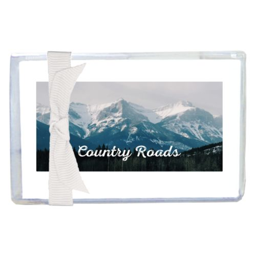 "Personalized enclosure cards personalized with photo and the saying ""Country Roads"""