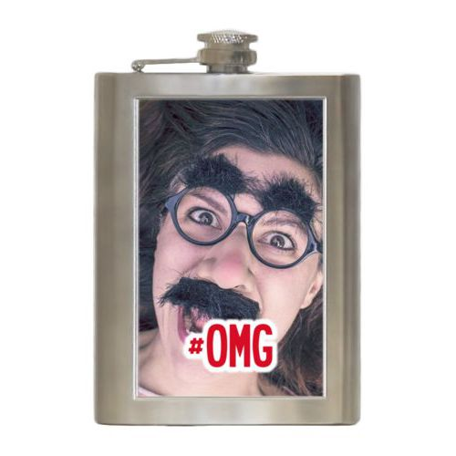 "Personalized 8oz flask personalized with photo and the saying ""#omg"""