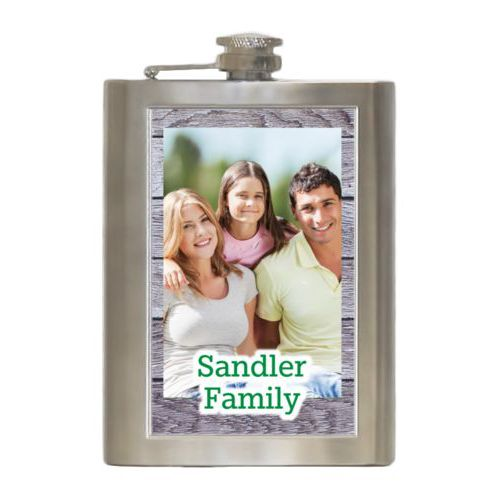 "Personalized 8oz flask personalized with grey wood pattern and photo and the saying ""Sandler Family"""