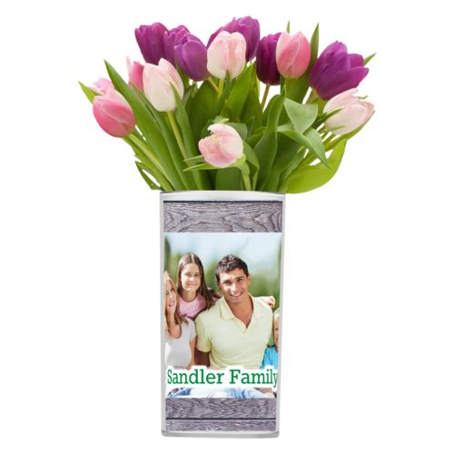 "Personalized vase personalized with grey wood pattern and photo and the saying ""Sandler Family"""