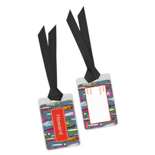 Personalized bag tag personalized with fishing lures pattern and name in strong red