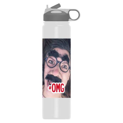 "Insulated water bottle personalized with photo and the saying ""#omg"""