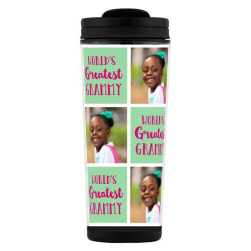 "Custom tall coffee mug personalized with a photo and the saying ""World's Greatest Grammy"" in pomegranate and spearmint"