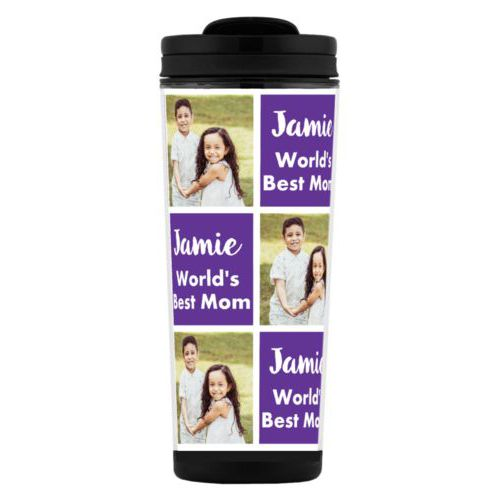 "Custom tall coffee mug personalized with a photo and the saying ""Jamie World's Best Mom"" in purple and white"