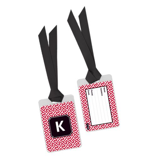 Personalized bag tag personalized with keyhole pattern and initial in university of georgia