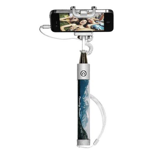 "Personalized selfie stick personalized with photo and the saying ""Country Roads"""