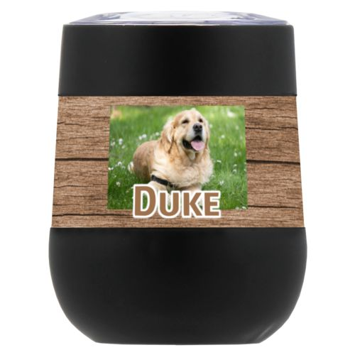"Personalized insulated wine tumbler personalized with brown wood pattern and photo and the saying ""Duke"""