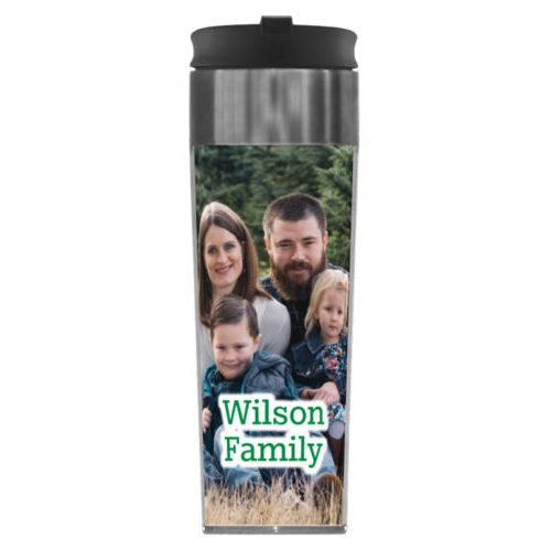 "Personalized steel mug personalized with photo and the saying ""Wilson Family"""