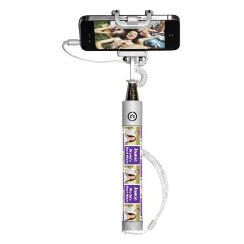 "Personalized selfie stick personalized with a photo and the saying ""Jamie World's Best Mom"" in purple and white"
